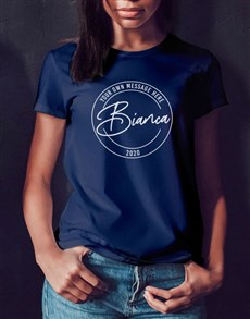 gifts: Personalised Retro Stamp Navy T Shirt!