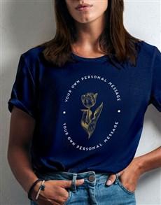 gifts: Personalised Tulip Ladies Navy T Shirt!