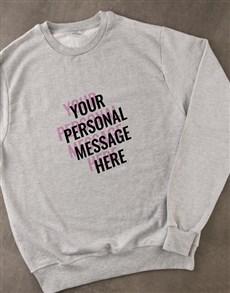 gifts: Personalised Layered Text Grey Sweatshirt!