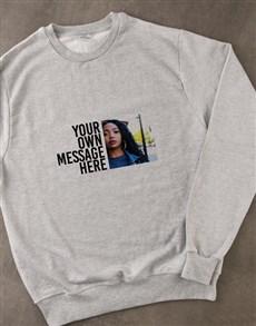 gifts: Personalised Photo Message Grey Sweatshirt!