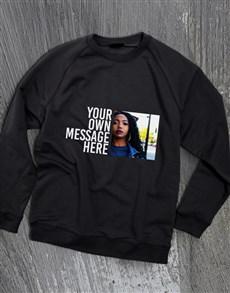 gifts: Personalised Photo Message Black Sweatshirt!