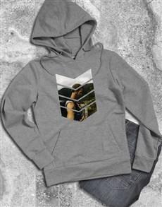 gifts: Personalised Pattern Photo Grey Hoodie!