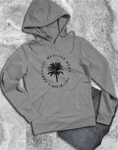 gifts: Personalised Palm Tree Grey Hoodie!