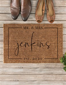 gifts: Personalised Mr And Mrs Est Doormat !