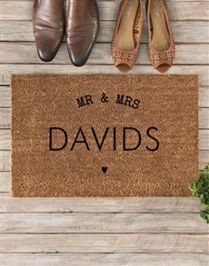 gifts: Personalised Mr And Mrs Heart Doormat!