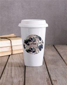 gifts: Personalised Floral Camouflage Travel Mug !