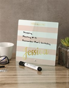 gifts: Striped Pink Glass Reminder Whiteboard!