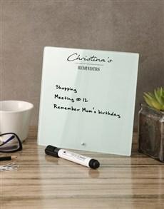 gifts: Minimalist Glass Reminder Whiteboard!