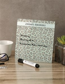 gifts: Leopard Glass Reminder Whiteboard!
