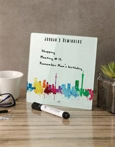 gifts: Skyline Glass Reminder Whiteboard!