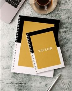 gifts: Personalised Modern Black Notebook!