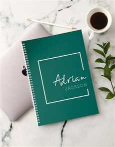 gifts: Personalised Trendy Green Notebook!