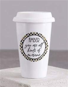 gifts: Personalised You Are Awesome Ceramic Travel Mug!