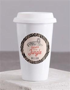 gifts: Personalised Jungle Ceramic Travel Mug!