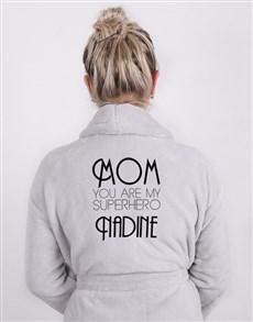 gifts: Personalised Superhero Mom Light Grey Fleece Gown!