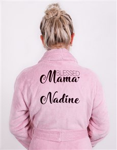 gifts: Personalised Blessed Mama Pink Fleece Gown!