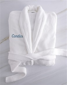 gifts: Personalised White And Blue Fleece Gown!