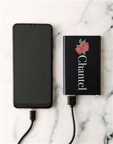 gifts: Personalised Rose Black Powerbank!