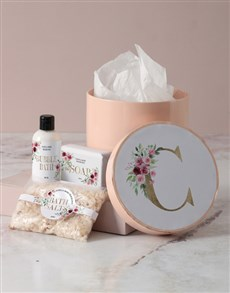 gifts: Personalised Floral Initial Pamper Hatbox!