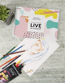 gifts: Personalised Live In Colour Sketch Book !