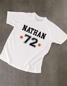 gifts: Personalised White Team Number Dry Fit T Shirt!