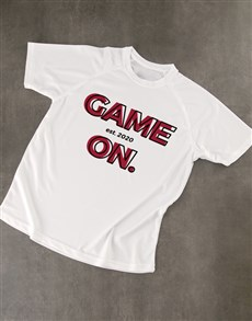 gifts: Personalised White Game On Dry Fit T Shirt!