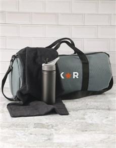 gifts: Personalised Star Initials Grey Gym Duffel Bag!