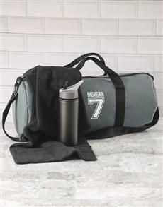 gifts: Personalised Team Player Grey Gym Duffel Bag!