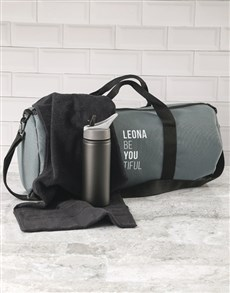gifts: Personalised BeYouTiful Grey Gym Duffel Bag!