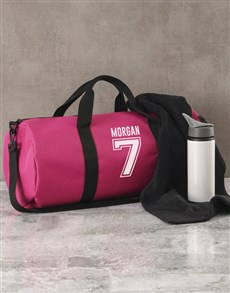 gifts: Personalised Team Player Pink Gym Duffel Bag!