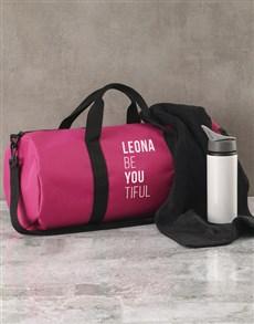 gifts: Personalised BeYouTiful Pink Gym Duffel Bag!