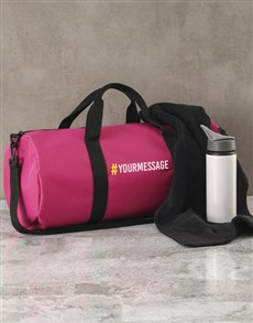 gifts: Personalised Message Pink Gym Duffel Bag!