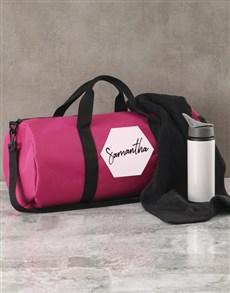gifts: Personalised Hexagonal Pink Gym Duffel Bag!