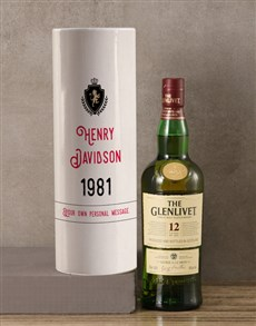 gifts: Personalised Glenlivet Whisky Crest Tube!