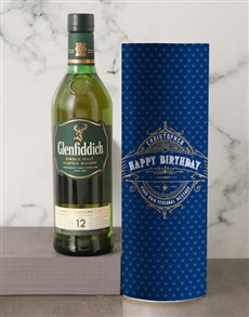 gifts: Personalised Glenfiddich Whisky Deco Tube!