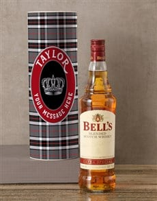 gifts: Personalised Bells Whisky Tartan Tube!