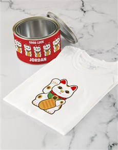 gifts: Personalised Lucky Cat T Shirt Tin!