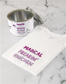 gifts: Personalised Magical Unicorn T Shirt Tin!