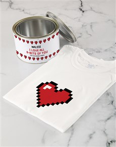 gifts:  Personalised Love Heart T Shirt Tin!