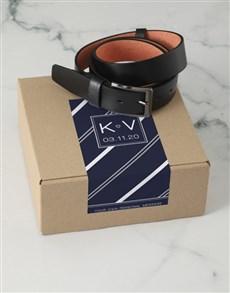 gifts: Personalised Navy Stripe Belt Box !