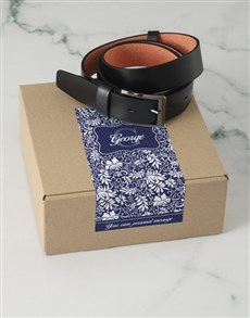 gifts: Personalised Navy Floral Belt Box!