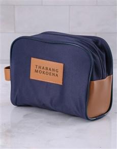 gifts: Personalised Mens Navy Blue Wash Bag !