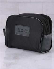 gifts: Personalised Mens Ink Black Wash Bag!