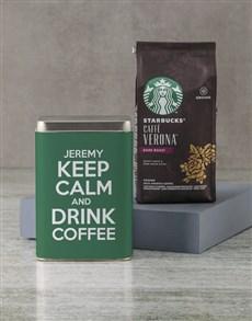 gifts: Personalised Starbucks Keep Calm Coffee Tin!