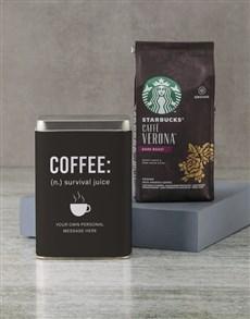 gifts: Personalised Starbucks Survival Juice Coffee Tin!