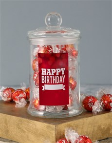 gifts: Personalised Red Birthday Lindt Candy Jar!