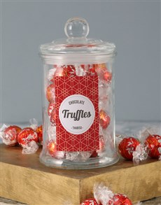 gifts: Personalised Red Pattern Lindt Candy Jar!