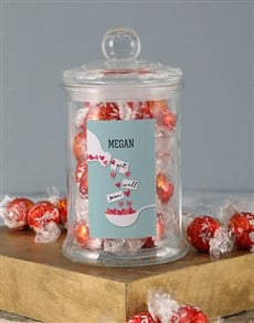 gifts: Personalised Get Well Hearts Lindt Candy Jar!