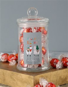 gifts: Personalised Fa La La Llama Lindt Candy Jar!