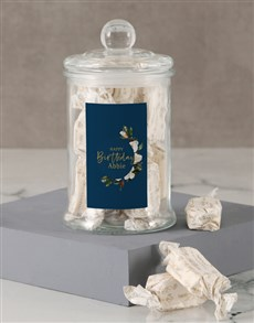 gifts: Personalised Floral Birthday Nougat Candy Jar!